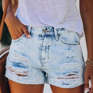 NWT Distressed Cuffed Washed Jean Denim Shorts